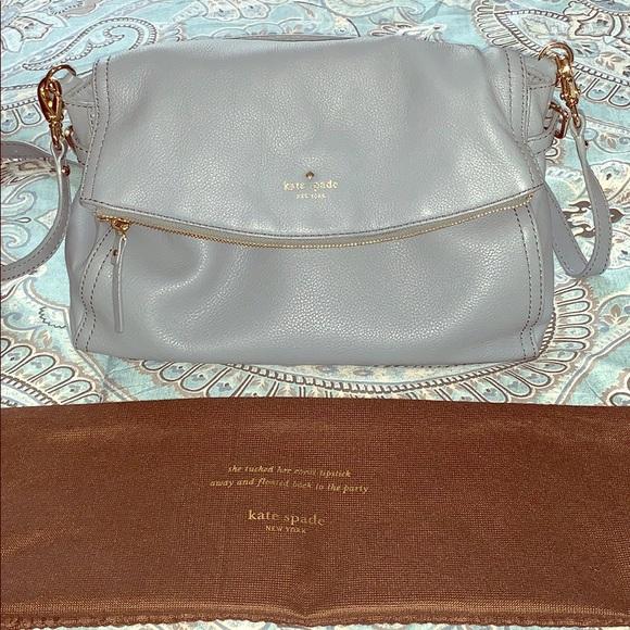 Kate Spade dust blue satchel with folder over flap